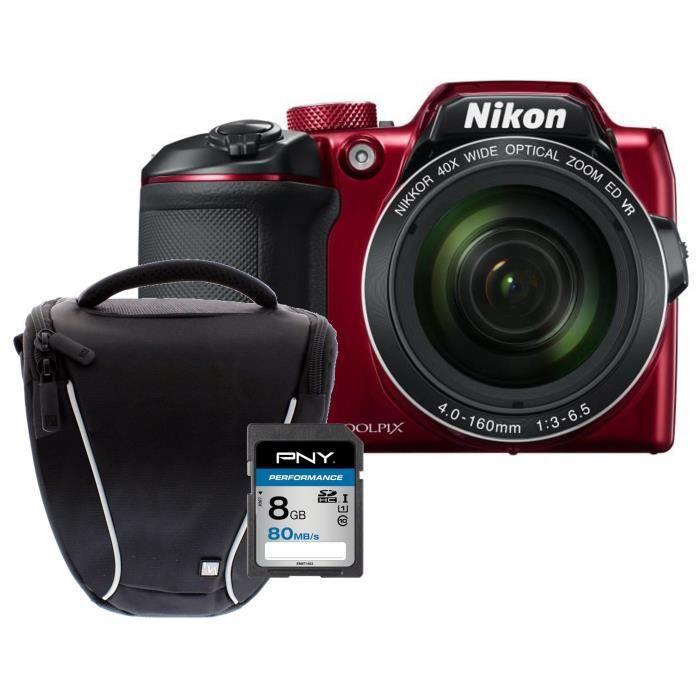 NIKON COOLPIX B500 Zoom X40 - Appareil photo numérique Bridge - Bluetooth - Rouge + Carte 8Go + Sacoche