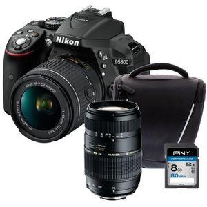 NIKON D5300 + AF-P 18-55VR Appareil photo reflex avec objectif Noir  + Carte 8Go + Sacoche + Objectif Tamron 70-300 mm