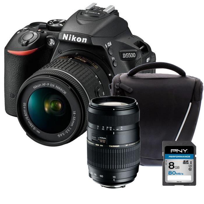 NIKON D5500 + AF-P 18-55VR Appareil photo reflex avec objectif Noir + Carte 8Go + Sacoche + Objectif Tamron 70-300 mm