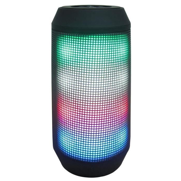 Enceinte lumineuse Bluetooth - Haut-parleurs 1 x 5W - Lumière multicolore - Portée Bluetooth : 8m - Port micro USB pour chargeENCEINTE NOMADE - HAUT-PARLEUR NOMADE - ENCEINTE PORTABLE - ENCEINTE MOBILE - ENCEINTE BLUETOOTH - HAUT-PARLEUR BLUETOOTH