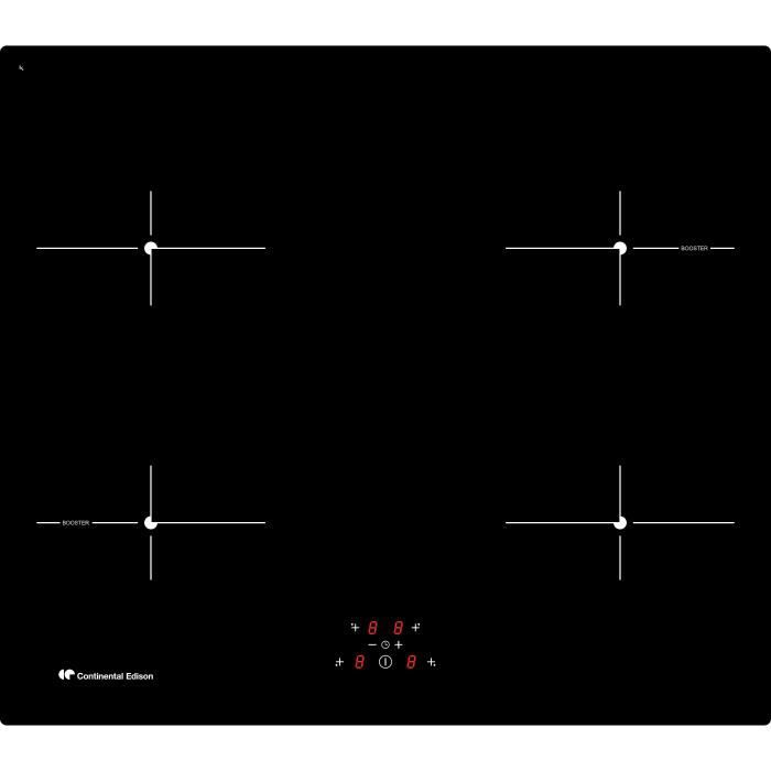 CONTINENTAL EDISON - TI4Z2B - Table de cuisson induction - 4 zones - 6500W - L59xP52cm * Noir