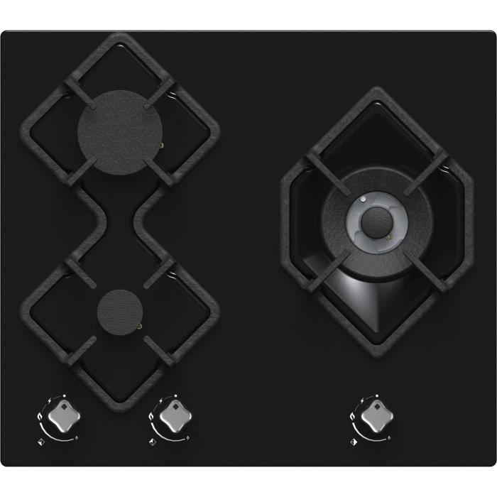 HUDSON HTG 3 BVN - Table de cuisson gaz - 3 foyers - L 60 cm - Revêtement verre - Noir