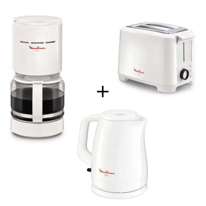 PACK MOULINEX UNO - Cafetière à filtre FG121111 + Grille Pain LT140111 + Bouilloire BY150100 - Blanc