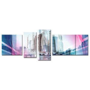 CITY Tableau multi panneaux 160x60 cm bleu ville