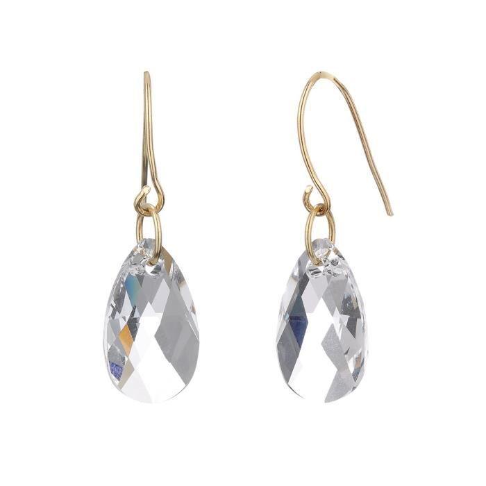 LES BIJOUX D'EMMA CRISTAL - Boucles d'Oreilles en Or et Cristal De Swarovski Coloris Cristal