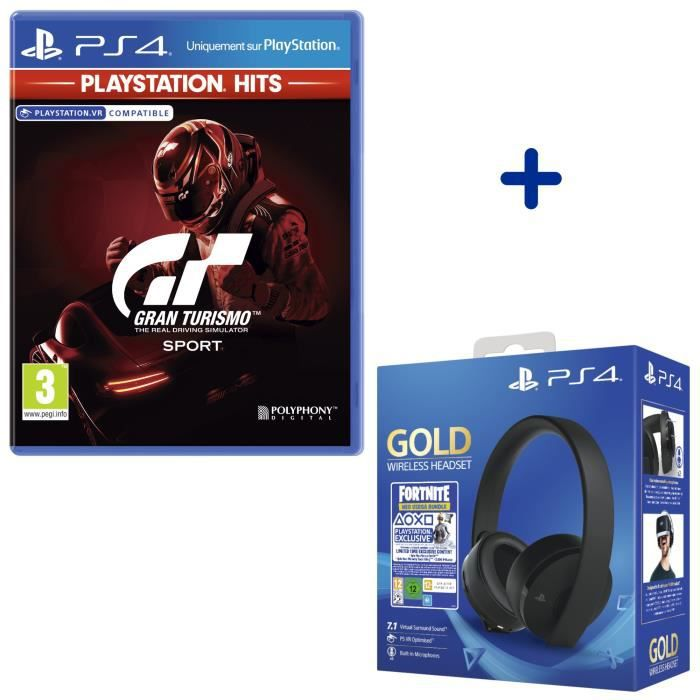 Pack PlayStation : GT Sport PlayStation Hits + Casque Sans Fil Sony Gold + Voucher Fortnite