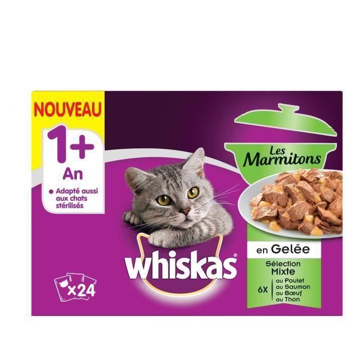 WHISKAS Les Marmitons - Sachets fraîcheur en gelée - 4 variétés - Pour chat adulte - 24 x 85 g (x2)