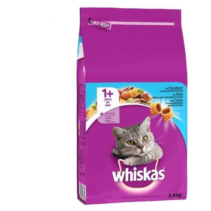 WHISKAS Croquettes au thon - Pour chat adulte - 3,8 kg (x3)