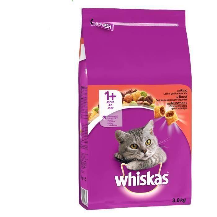 WHISKAS Croquettes au bŒuf - Pour chat adulte - 3,8 kg (x3)
