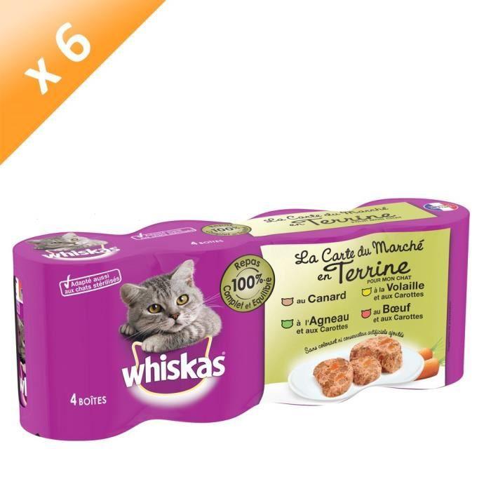 WHISKAS Terrine 4 variétés - Pour chat - 4 x 400 g (x6)