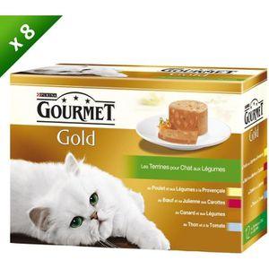 GOURMET GOLD Les Terrines aux Légumes Multivariétés - 12 x 85 g (x8) - Pour chat adulte
