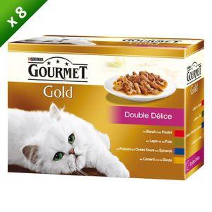 GOURMET Gold Double Délice Multivariétés - Pour chat adulte - 12x85 g (x8)