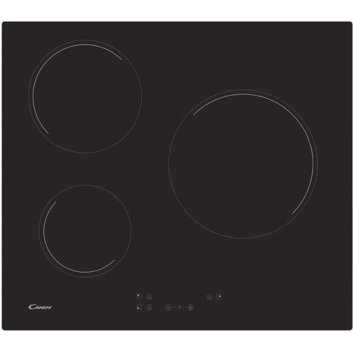 CANDY CH63CC-1 - Table de cuisson vitrocéramique - 3 zones - 5500 W - L 56 x P 49 cm - Revêtement ve