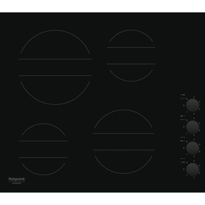 HOTPOINT HR 639 C CM - Table de cuisson vitrocéramique - 4 zones - 6200 W - L 58 x P 51 cm - Noir