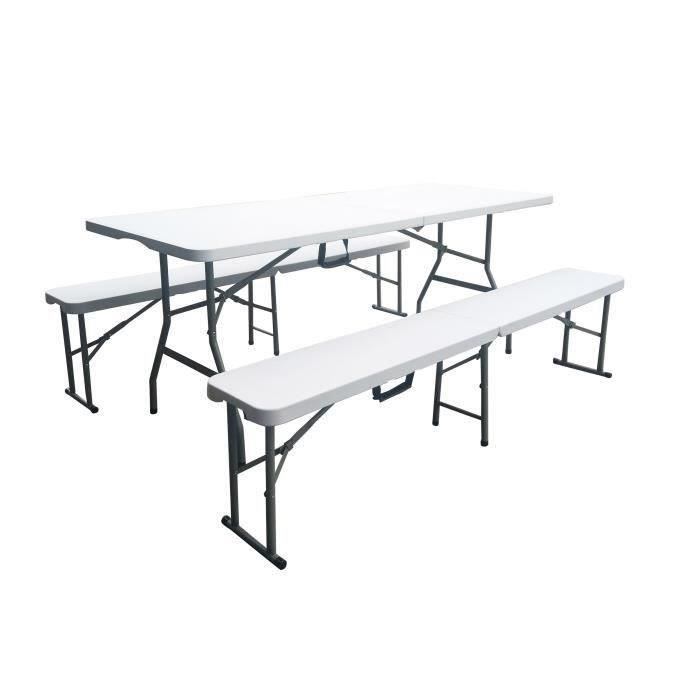 Ensemble de reception pliant - Table 8 personnes 180cm et 2 bancs - Structure en acier & Plateau en