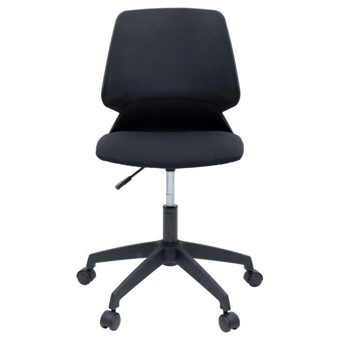 MIALY Chaise de bureau - Tissu noir - Contemporain - L 47 x P 49 cm