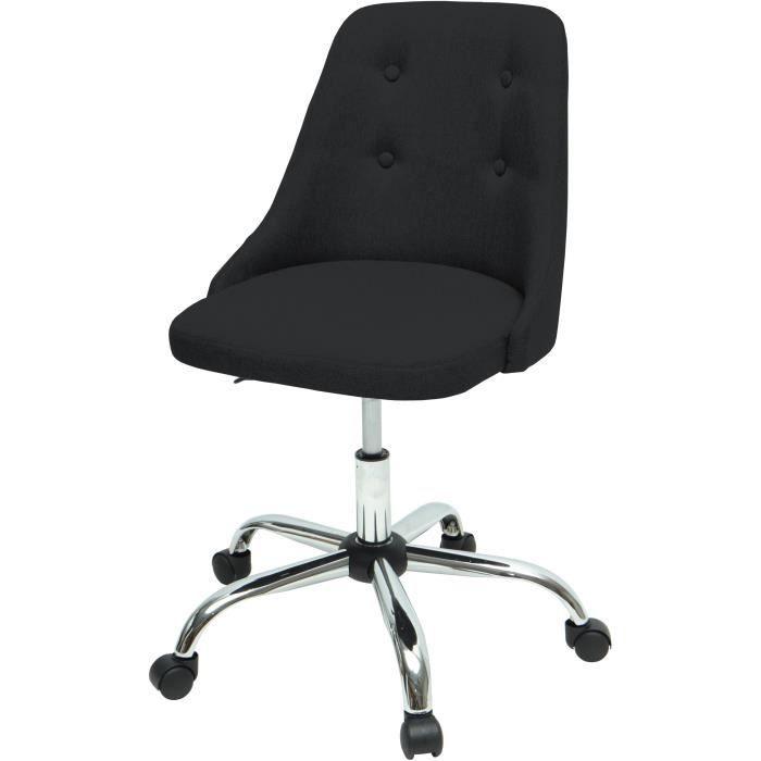 SIGMA Chaise de bureau - Simili et tissu noir - Style contemporain - L 45,5 x P 47,5 cm