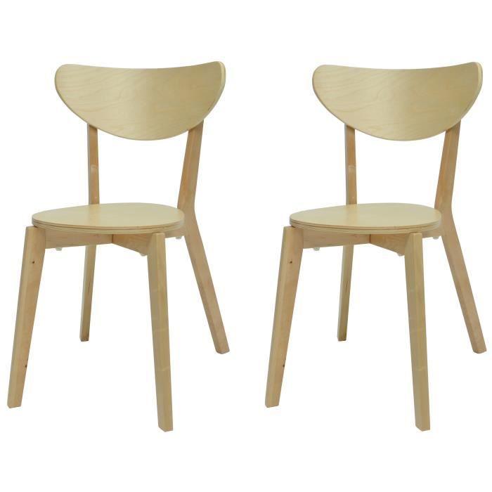 SMILEY Lot de 2 chaises de salle à manger en bois coloris bois naturel - Scandinave - L 37,5 x P 39,
