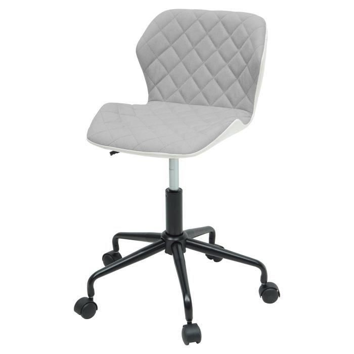 SQUATE Chaise de bureau - Tissu et simili gris clair - Style industriel - L 42 x P 35 cm