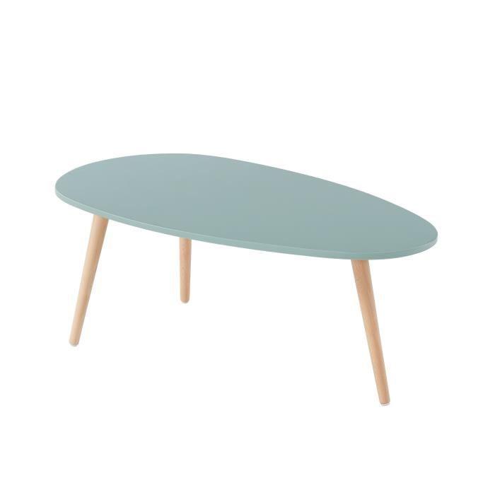 STONE Table basse ovale - Décor vert céladon - Style scandinave - L 88 x P 48 x H 34cm