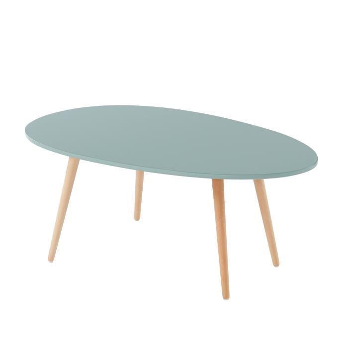 STONE Table basse ovale - Décor vert céladon - Style scandinave - L 98 x P 61 x H 39cm