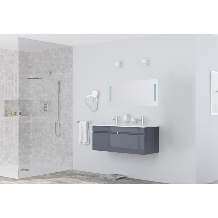 LOUNGITUDE Meuble sous vasque ALBAN L 120 cm double vasque incluse - Gris brillant