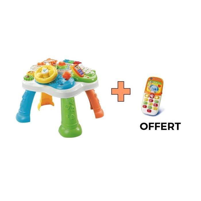 VTECH - Table d'Activité Bilingue Multicolore et Baby Smartphone Bilingue Orange