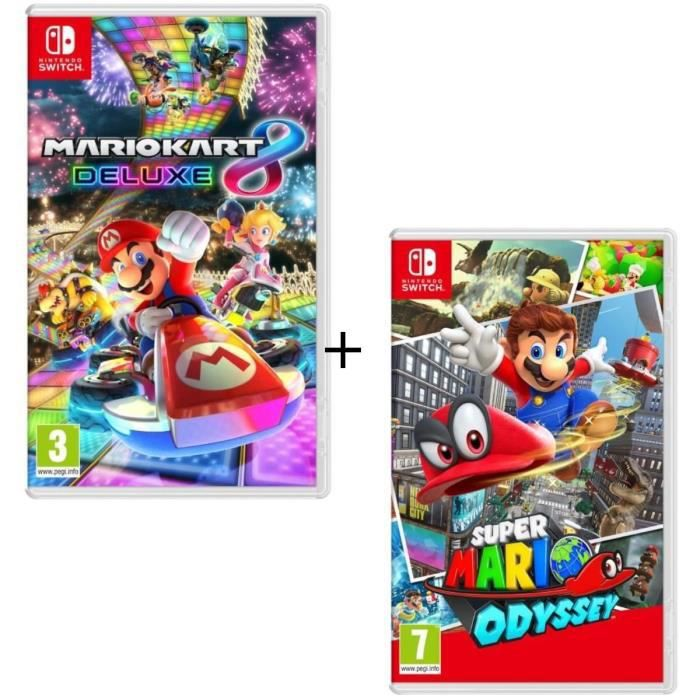 Pack 2 jeux Switch : Mario Kart 8 Deluxe + Super Mario Odyssey