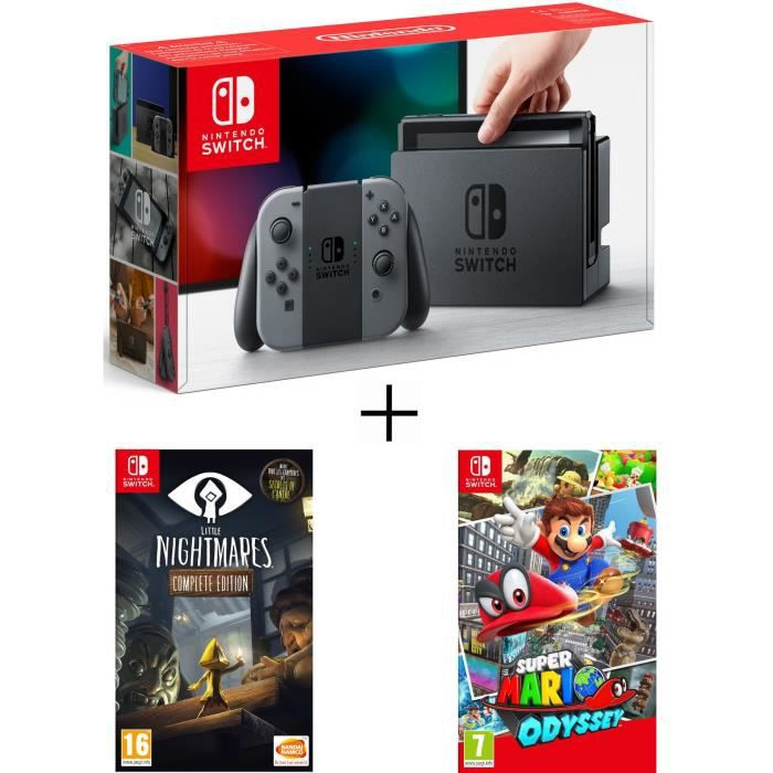 Pack nintendo switch grise little nightmares super mario odyssey