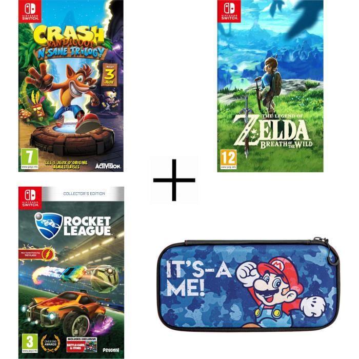 Pack 3 jeux Nintendo Switch : Crash Bandicoot N. Sane Trilogy + Rocket League + Zelda + Housse