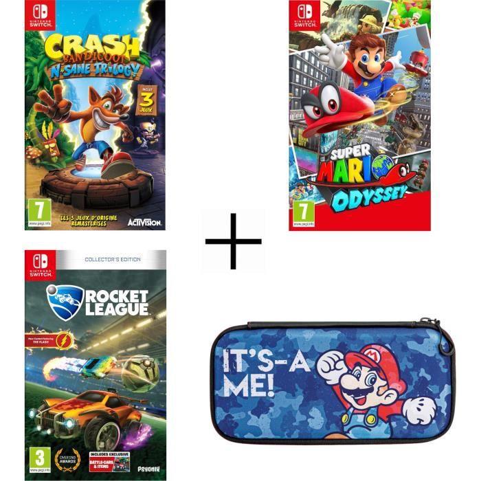 Pack 3 jeux Nintendo Switch : Crash Bandicoot N. Sane Trilogy + Rocket League + Super Mario Odyssey + Housse