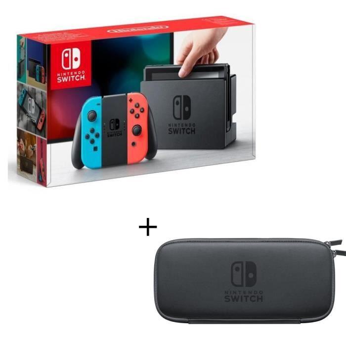 Console Nintendo Switch avec un Joy-Con droit rouge néon et un Joy-Con gauche bleu néon + Pochette transport + Protection d'écran