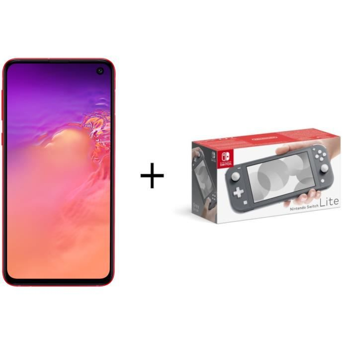 Samsung galaxy s10e rouge console nintendo switch lite grise