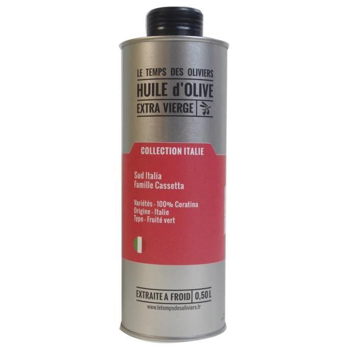 LE TEMPS DES OLIVIERS - Huile d'olive Extra Vierge 100 % Coratina Extraite à froid - 50 cl