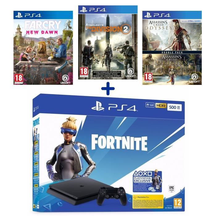 Pack PlayStation : PS4 500 Go Noire + Assassin's Creed BiPack + The Division 2 + Far Cry New Dawn + Voucher Fortnite