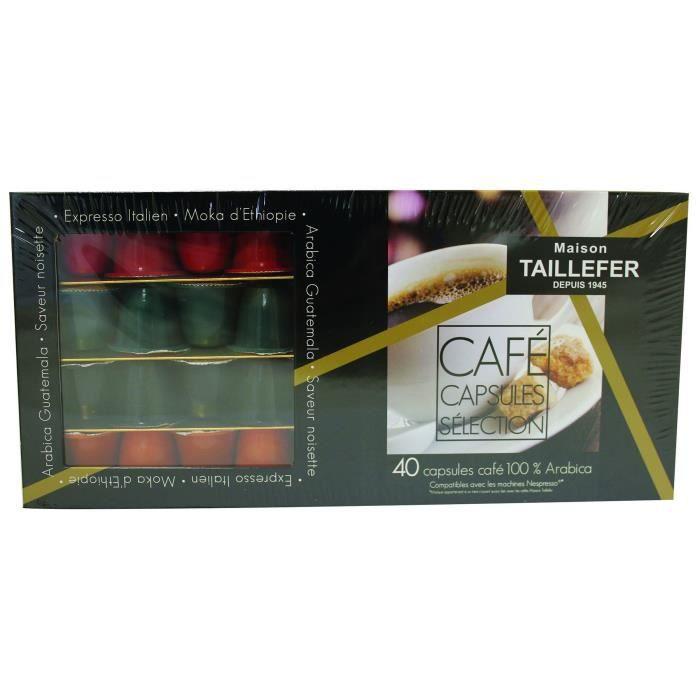 MAISON TAILLEFER Coffret Assortiment de 40 Capsules de Café