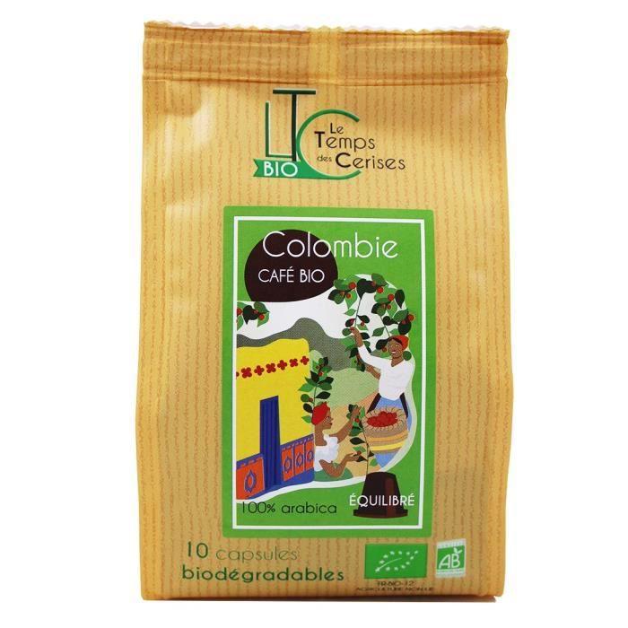 LE TEMPS DES CERISES Café Colombie Bio 10 capsules compatible Nespresso® 50 g