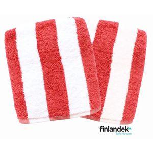 FINLANDEK Lot de 2 serviettes de toilette 50x100 cm rayées corail