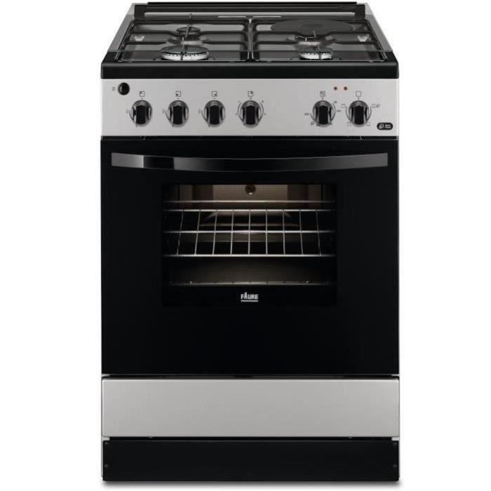 FAURE FCM640HCSA-Cuisinière table mixte gaz / électrique-4 foyers-Four électrique-Catalyse-56 L-A-L 60 x H 88,9 cm-Silver