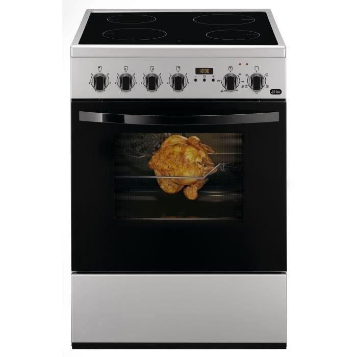 FAURE FCV6530CSA - Cuisinière table vitrocéramique-4 zones-8485W-Four électrique-Catalyse-56L-A-Silver