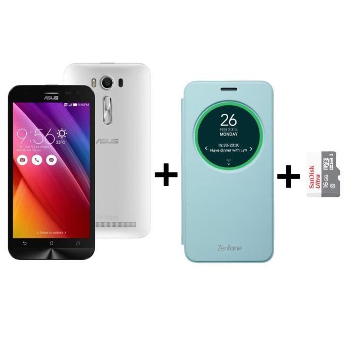 Asus Zenfone 2 ZE500KL 8Go 4G Blanc + Carte 16Go + Etui