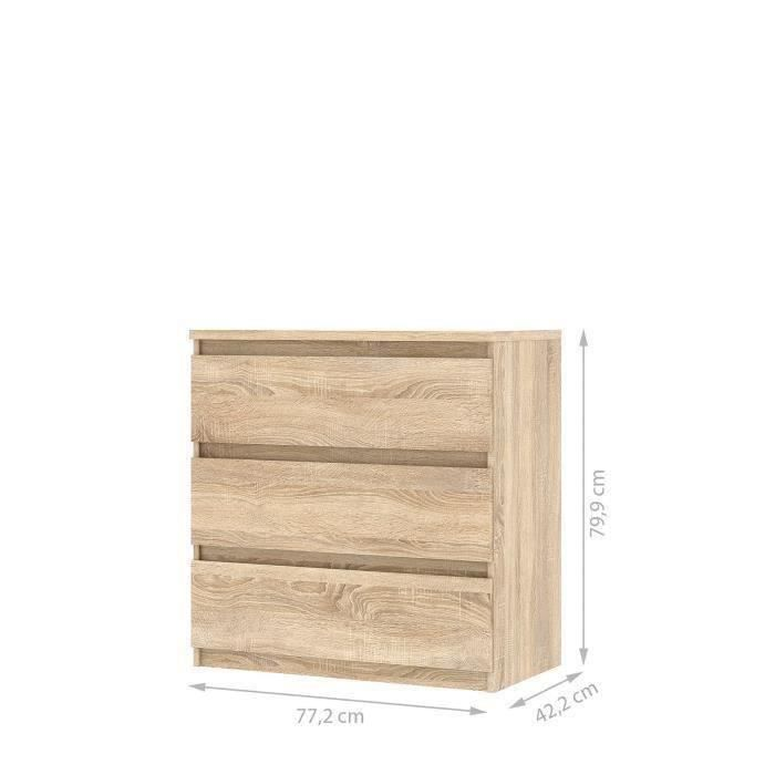 Panneaux de particules décor chêne - L 77,2 x P 42,2 x H 79,9 cm - 3 tiroirs - Fabrication européenneCOMMODE DE CHAMBRE