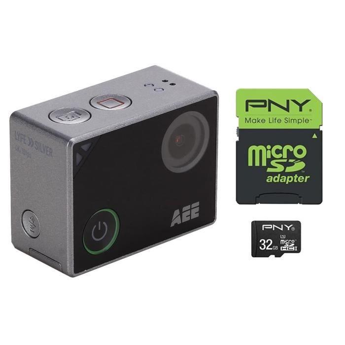 PNJ CAMLYFESILVER Action cam + PNY Carte Mémoire Micro SDHC 32 Go