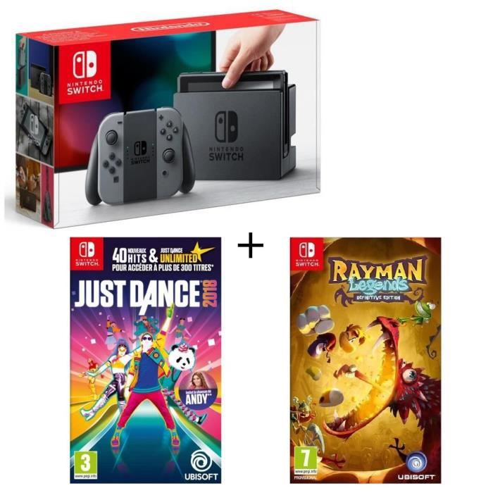 Console Nintendo Switch Grise + Rayman Legends Definitive Edition + Just Dance 2018