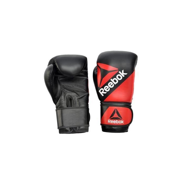 REEBOK Gants de boxe de combat en cuir - Entraînement - Noir et rouge