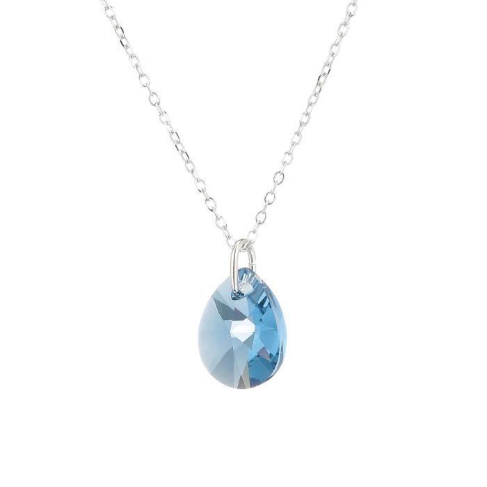 LES BIJOUX D'EMMA CRISTAL - Collier en Argent et Cristal De Swarovski Coloris Denim Blue