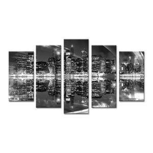 CITY Tableau multi panneaux 150x80 cm gris ville