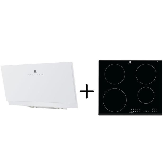 ELECTROLUX EFV90673OW - Hotte décorative murale - Hotte pilotée par la table - Blanc + LIT6043 - Table de cuisson induction - Noir