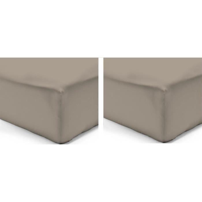 VISION Pack de 2 Draps Housse 100% coton 200x200 cm taupe