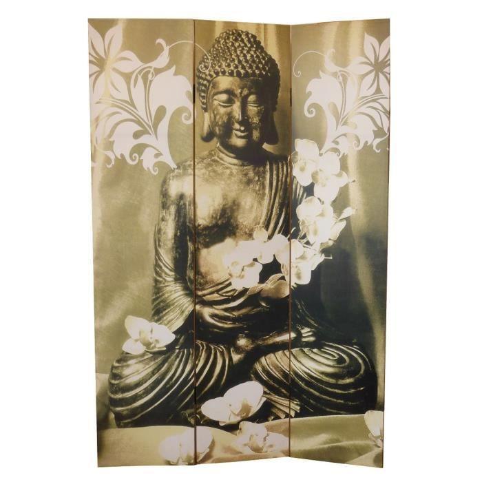 Matériau : sapin - Dimension : 180 x 120 cm - Epaisseur : 2,5 cm - Coloris : gris et jaune - Motif : BouddhaPARAVENT
